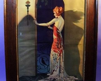 "19.	C/1920 large pin-up litho, Deco Girl in Archway, signed Coles Phillips, 21x32"", Oak framed."