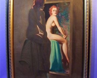 "18.	C/1950's pin-up litho, Full Nude, Girl in Mirror, signed Earl Moran, 16x20"", framed."