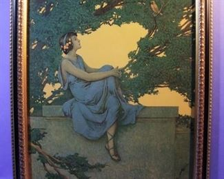 "23.	C/1930 Maxfield Parrish style pin-up litho, Girl on Ledge, signed Vincent Aderente. 16x20"", framed."