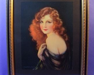 "28.	C/1940 pin-up litho, Red haired Girl, 16x20"", framed."