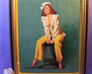"30.	C/1950 Medium-size pin-up litho, ""Hello Skipper"", signed Earl Moran, 16x20"", framed."