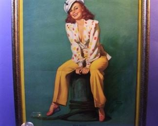 "31.	C/1950 Large-size pin-up litho, ""Hello Skipper"", signed Earl Moran, 22 x 28"", framed."