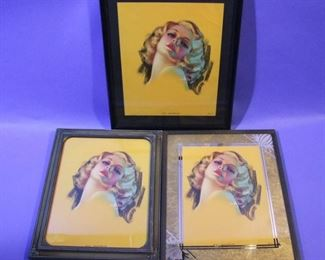 "35.	C/1930's 3 pin-up lithos, ""Bewitching Eyes"", signed Zoe Mozart, all 8x10"", framed."