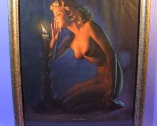 "37.	C/1950 pin-up litho, Full Nude, ""Sweet Dreams"", signed Zoe Mozert, 16x20"", framed."