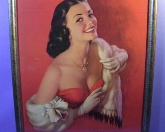 "39.	C/1950 pin-up litho, ""Lovely to Look At"", signed Zoe Mozert, 22x28"", framed."
