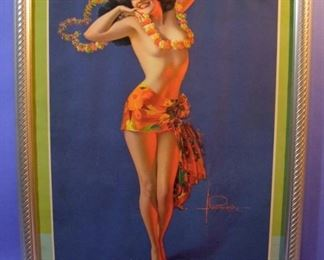 "38.	C/1940 pin-up litho, ""Aloha"", signed Rolf Armstrong, 16x20"" framed."