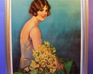 "65.	C/1920 pin-up litho, Girl with Flowers, 16x20"", framed."