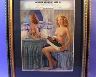 "70.	1946 photo/pin-up advertising calendar top, ""A Pleasant Surprise"", 16x20"", framed."
