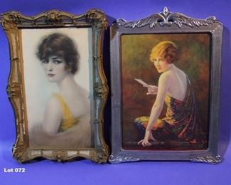 "72.	C/1920 2 small pin-up lithos, 1 signed Edward Eggleston, 8X10"" and 6x10"", both framed."