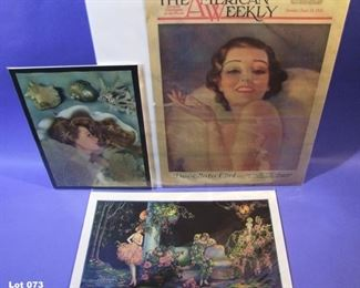 73.	4 piece mixed lot of pin-ups, 2 signed Victor Tchetchet, various sizes, all sleeved.