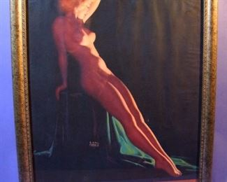 "42.	C/1950 pin-up litho, Full Nude, ""When Shadows Fall"", signed Earl Moran, 16x20"", framed."