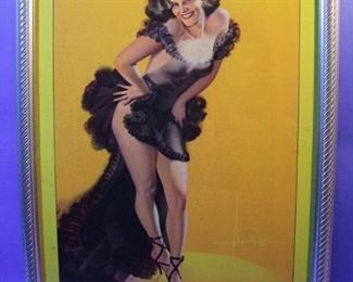 "43.	C/1940 pin-up litho, Girl in Black Nightie, signed Rolf Armstrong, 16x20"", framed."