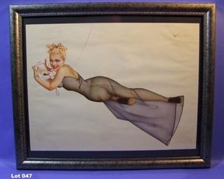 "47.	C/1940 pin-up litho, Reclining Girl on Telephone, signed George Petty, 16x20"" framed."