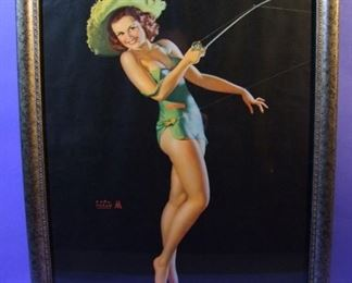 "49.	C/1950 pin-up litho, Girl with Fishing Rod, signed Earl Moran, 16x20"", framed."