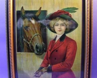 "50.	C/1910 pin-up litho, Girl with Horse, unsigned, 16x20"", framed."
