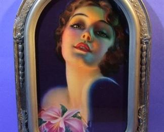 "53.	C/1930's pin-up litho, Pretty Girl portrait, by Rolf Armstrong, 14x20"", framed."