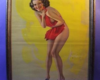 "54.	C/1940 pin-up litho, ""Hold Everything"", signed Rolf Armstrong, 22x28"", framed."