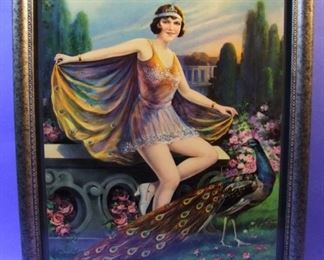 "58.	C/1930 pin-up litho, Girl with Peacock, marked Germany, 16x20"", framed."