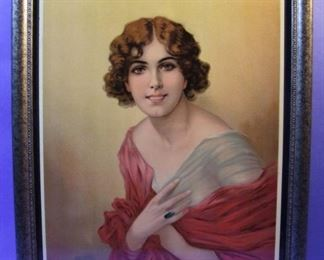 "59.	C/1920 pin-up chromo litho, Pretty Girl Portrait, unsigned, 16x20"", framed."
