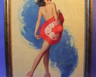 "61.	C/1940 pin-up litho, ""Brimful of Beauty"" signed Rolf Armstrong, 16x20"", framed."
