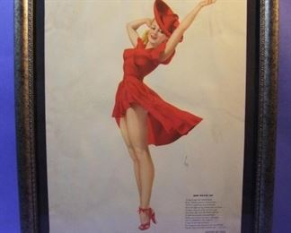 "63.	C/1940 pin-up litho, ""Red Means Go"", signed Alberto Vargas, 16x20"", framed."