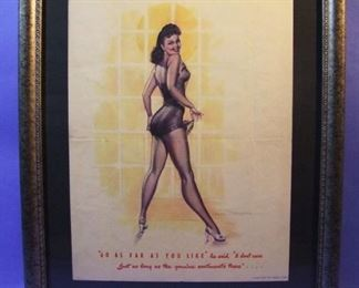 "51.	C/1950 pin-up litho, ""Go as far as you like"", signed Earl MacPhearson, 16x20"", framed."