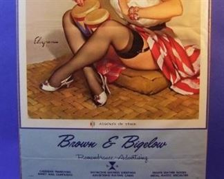 "56.	1962 pin-up litho, Salesman sample, ""Always in Time"", signed Gil Elvgren, 16x33 ¼"", sleeved."