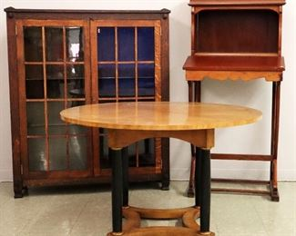 Oak Arts & Crafts 2 Door Bookcase, French Maitre d Desk, Neoclassical Dining Table in Cherry