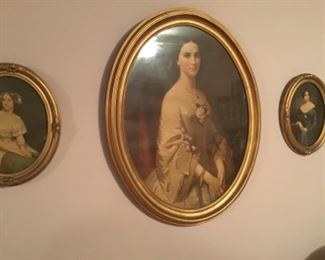 Set of three Victorian prints in oval frames