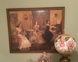 """Frederic Mizen Victorian print of painting """"Three Ladies in the Parlor"""""""