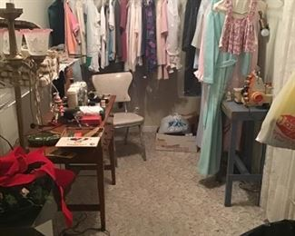Ladies clothing, gowns, slips...Vintage Pfaff Sewing Machine....serger...and GNOMES!
