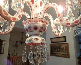 Vintage Bohemian Opaque White Cut to Cranberry  Floral Accents 5 Arm Chandelier    We are going to keep the light hanging, when purchased we will have it taken down and work out delivery to buyer.