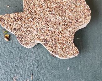 """Concrete and Pebble Created Texas stepping Stones.  God Bless Texas, and the other two states in the Union.  Oops!  Kidding folks, I will be back after another glass of wine.  Now just to decide which one....Oooohhh, have y'all tried """"Silk and Spice Cabernet""""?  Good one!"""