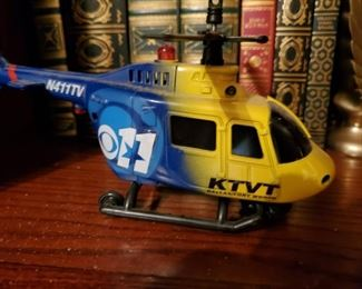 KTVT Helicopter.  Not a real one, a replica.  Why are they always hovering above my house and shouting at me?   I only have robbed three convenience stores, a nail salon, and a toilet store.