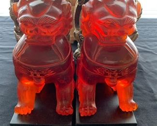 "Pair of  Chinese Amber-like Lions (approximately 6.5"" tall)"