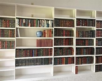 Beautiful Leather Bound Books  (over 400) - all in pristine condition all 3 rows on left shelf are Signed First Editions.