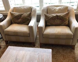Pair of MATCHING OFF WHITE CHAIRS, Designed by Diane Breckenridge Interiors