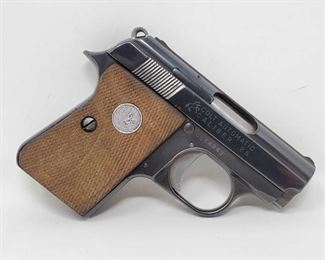 "130: Colt 1908 ""Vest Pocket"" .25cal Semi-Auto Pistol Serial Number: 0D24843 Barrel Length: 2"" Year: 1910  California Transfer Available. Ca and out of state shipping available to your local FFL. Buyer is responsible for checking local laws before bidding."