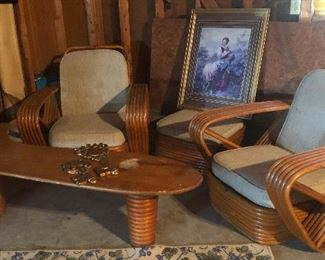 Authentic Paul Frankl Pretzel Arm Rattan Chairs! WITH Ottoman and BOOMERANG Table!! Oh my GAH!!!