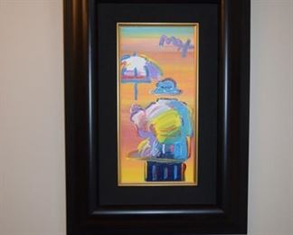 "Peter Max ""Umbrella Man"" Original Framed Acrylic On Canvas. 2008 Signed in Pigment Upper Right. 12"" X 6"""