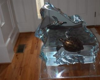 "Wyland ""Sea Turtles"" 2002 Limited Edition Lucite Sculpture 323/350. 12"" X 12"""