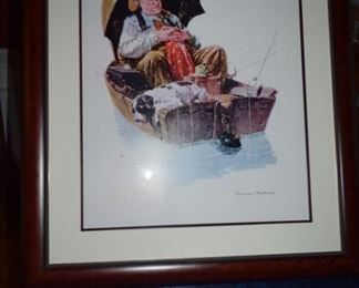 """Gone Fishin"" By Norman Rockwell 2005 29 1/2"" X 23"" Seriolitograph in Color on Archival Paper. Norman Rockwell Authorized Estate Blind Stamp Gold Seal Lower Left and Numbered."