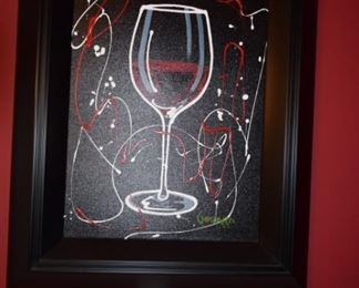 """Red Wine On Black"" By Michael Godard 2015 24"" X 18 1/4"" Acrylic Paint On Canvas Original. Hand Signed in Pigment Lower Right."
