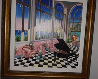 """Interior With Max"" By Fanch (francois Ledan) 2004 30 1/2"" X 29 1/2"" Giclee On Canvas with Hand Embellishment Signed in Pigment Lower Left."