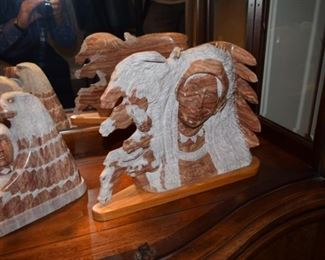 Alabaster Native American Sculpture By Wilson