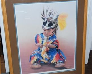 "Little Dreamer II Indian Boy Print 26"" X 21"" 472/950 Signed and Numbered By Miles Bendixon"