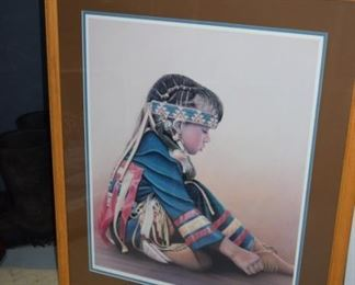 "Little Dreamer Indian Girl 26"" X 21"" 472/950 By Miles Bendixon"