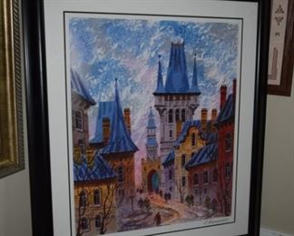 """Street Of Old Prague"" By Anatole Krasnyansky 2007 29"" X 24"" Seriolithograph In Color On Wove Paper"