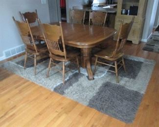 Oak Express Dinette Table with (8) Oak Spindle Back Chairs