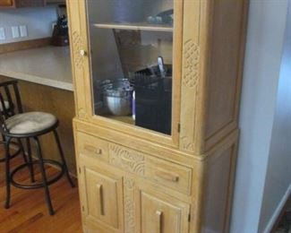 Ornate Blonde Oak Hutch